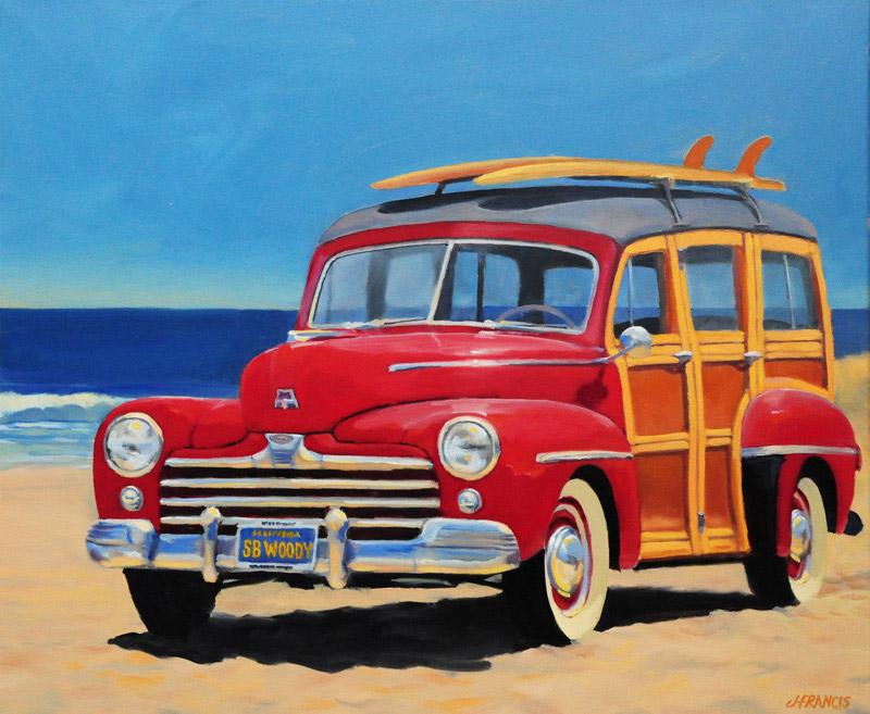 "Red Beach Woody (6"" x 6"") - Jon Francis"